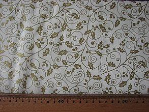 Textil - Vianočná látka so zlatými cezminami - 8648480_