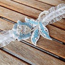 Bielizeň/Plavky - Wedding Lace Collection Blue Tulip ... podvazek - 8649438_