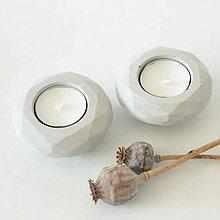 Svietidlá a sviečky - Betónový svietnik GEOMETRY grey - 8649333_