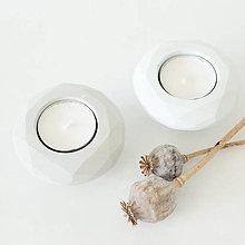 Svietidlá a sviečky - Betónový svietnik GEOMETRY grey/tyrkys - 8649354_