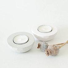 Svietidlá a sviečky - Sada svietnikov PLATE grey/pink - 8649415_