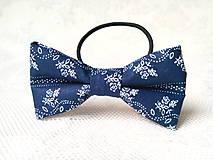 Ozdoby do vlasov - Dark blue folklore hair bow - 8649118_