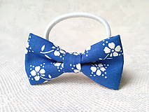 Ozdoby do vlasov - Romantic hair bow (blue/white flowers) - 8649228_
