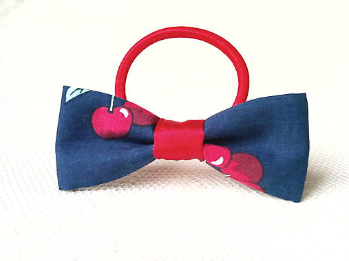 Dark blue hair bow with cherries