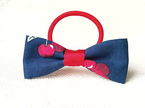 Ozdoby do vlasov - Dark blue hair bow with cherries - 8649294_