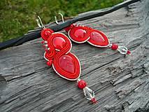 Náušnice - Soutache náušnice Vášnivé Červené - 8650858_