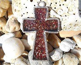 Dekorácie - cross with garnets - 8648294_