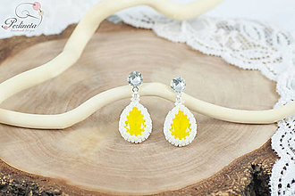 Náušnice - Wedding Drop - Yellow Opal - 8648030_