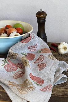 Úžitkový textil - Cibuľovo rajčinová ľanová utierka - ručná potlač - 8650103_