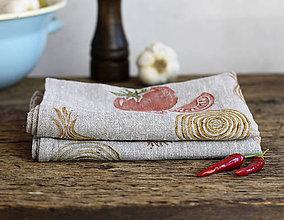Úžitkový textil - Set - dva kusy ľanových utierok s ručnou potlačou