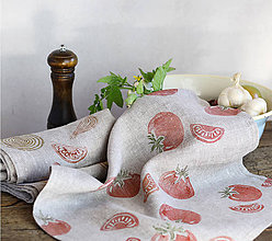 Úžitkový textil - Set troch ľanových utierok s potlačou