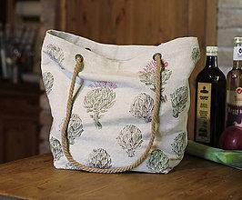 Nákupné tašky - Ľanová nákupná taška s ručnou potlačou