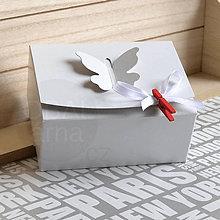 Obalový materiál - 400136 Svadobná krabička s motýlikom 12x9x5,5 cm / S - 8648341_
