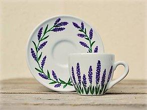 Nádoby - Maľovaná šálka s podšálkou na espresso (80 ml) - Levanduľa - 8648268_