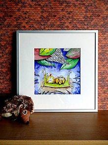 Obrazy - Zatúlaná včielka - ilustrácia s rámom - 8651687_