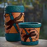 Vážky na hladine Tiffany - nádoba na perá a svietnik - podľa fotografie