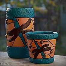 Svietidlá a sviečky - Vážky na hladine Tiffany - nádoba na perá a svietnik - podľa fotografie - 8649932_