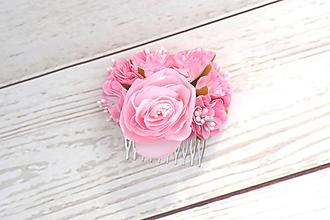 Ozdoby do vlasov - Hrebienok ružová ruža - 8648942_
