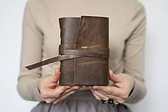 - Ručne viazaný kožený zápisník Abrahám / čisté strany - 8650789_