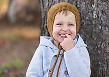 Detské čiapky - Pletená detská čiapka - horčicová - 8648547_