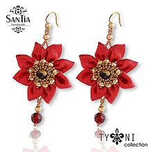 Náušnice - Náušnice s kvetmi  (Červeno-hnedé) - 8650390_