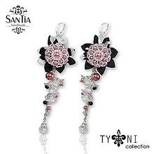 Náušnice - Náušnice so strapcami perál (Fľakaté čierno-ružovo-biele) - 8650765_