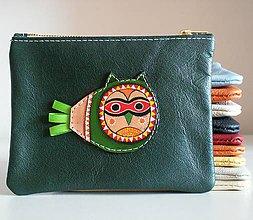 Taštičky - Sova zelená - kožená taštička - 8648559_