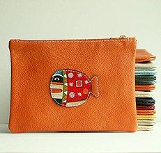 Taštičky - Orange Whale - kožená taštička - 8648569_