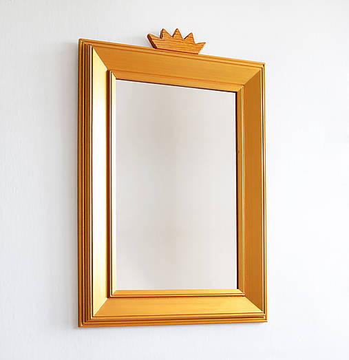 Zrkadlá - Zlaté zrkadlo s korunkou - 8653800_