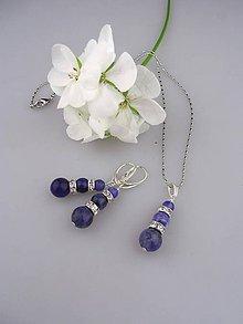 Sady šperkov - sodalit náušnice prívesok, v striebre Ag925/1000 - 8655524_