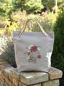 Veľké tašky - Veľká dámska šedá kabelka/taška z ľanu s ručnou maľbou - 8653527_