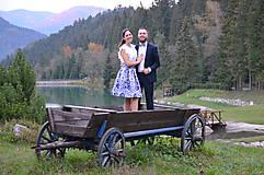 Sukne - slávnostná sukňa Modrý ornament - 8653455_