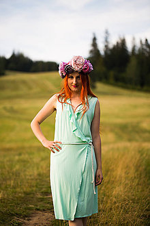 Šaty - Mentolové bambusové šaty - 8652600_