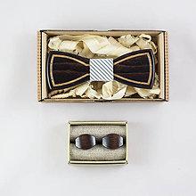 """Doplnky - Dizajnový drevený set motýlika a manžetových gombíkov """"Gentleman"""""""" - 8655730_"""