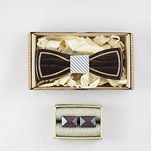 """Doplnky - Dizajnový drevený set motýlika a manžetových gombíkov """"Gentleman"""""""" - 8655733_"""