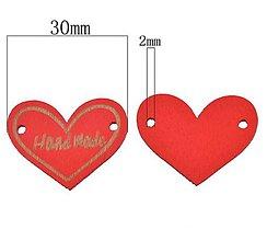 Galantéria - Handmade tabuľka červené srdiečko 3 cm - 8654197_