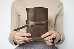 - Ručne viazaný kožený zápisník Abrahám / linajkové strany - 8653974_
