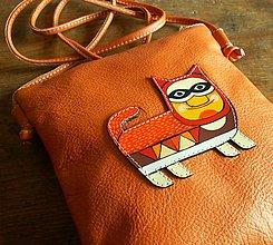 Iné tašky - Kocour Pomeranč - kožená crossbody taška - 8652433_