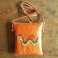 Iné tašky - Oranžový drak - kožená crossbody taška - 8652507_
