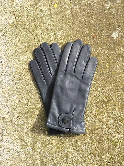 ec8cdf57c Tmavě šedé pánské kožené rukavice s vlněnou podšívkou / berja ...
