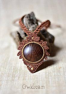 Náhrdelníky - Makramé drevený náhrdelník •Pre lesnú vílu• - 8655334_