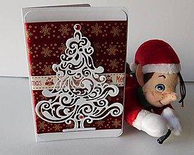 Papiernictvo - Sametová vianočná - špeciálna ručne upravená vianočná pohľadnica - 8657245_