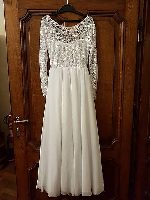 Svadobné šaty s dlhými rukávmi a odhaleným chrbtom   radixova ... 5ccf2821587