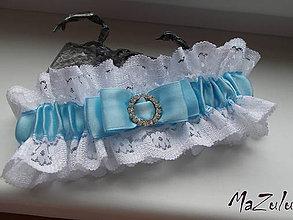 Bielizeň/Plavky - Svadobný podväzok s trochou modrého - 8657776_