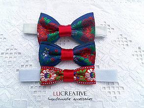 Doplnky - Súprava modrá: motýlik + mašlička-spona + čelenka - 8657737_