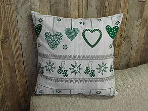 Úžitkový textil - Obliečka na vankúš -srdiečka zelená - 8659294_