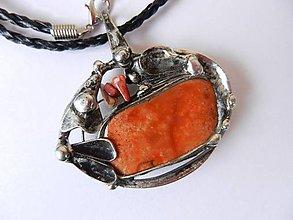 Náhrdelníky - Cínovaný prívesok jaspis-Závan jesene - 8658384_