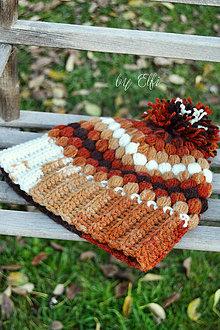 Čiapky - Pufíková čiapka v jesenných farbách ♠ - 8657917_