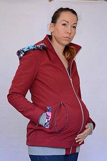 Tehotenské/Na dojčenie - NOSIČSKÁ BUNDA - WINE BUTTERFLY 3in1 - 8656182_