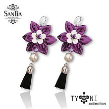 Náušnice - Náušnice: Kvety so strapcom (Fialovo-čierno-biele) - 8659714_